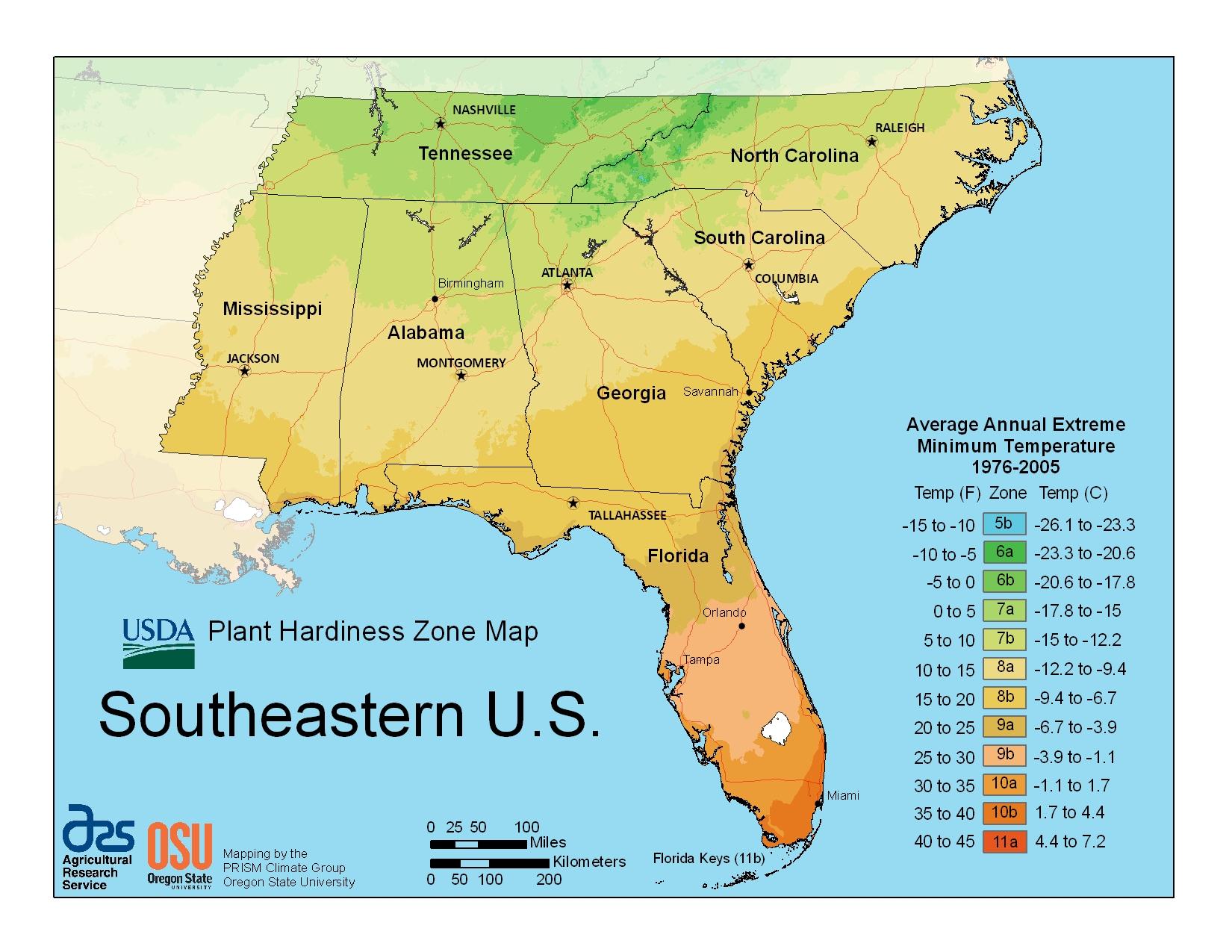 USDA Hardiness Zone Finder Gardenorg Map Downloads USDA Plant - Us map south region