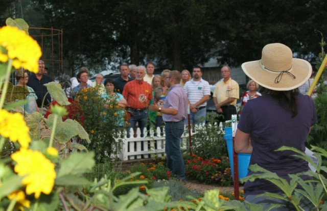 Visiting the Demo Garden during the tour of Fiddlers Grove - 5 August 2014