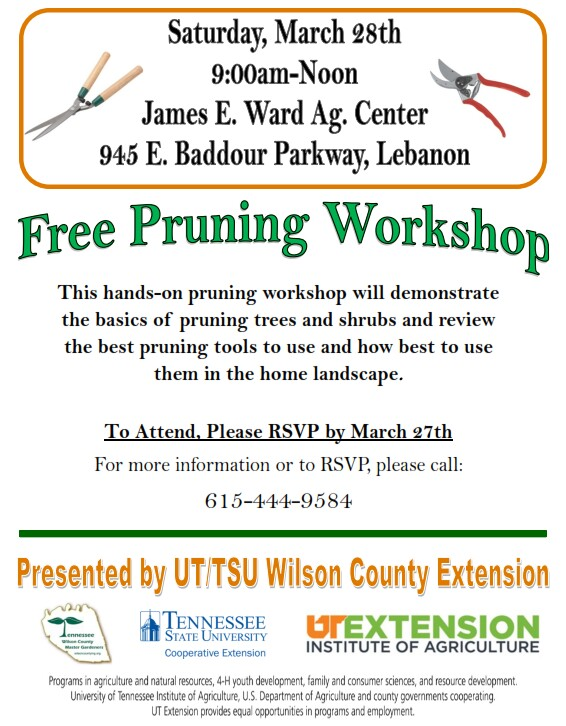 Pruning Workshop in Lebanon, TN on Saturday, 28 March 2015